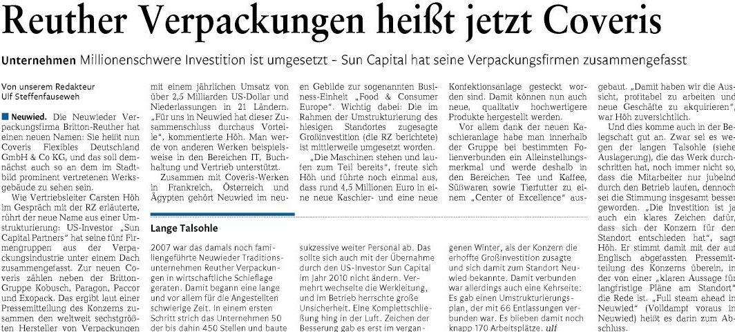 Reuther Verpackungen Heißt Jetzt Coveris Wirtschaftsforum Neuwied